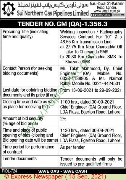 Sngpl Lahore Tender Notice