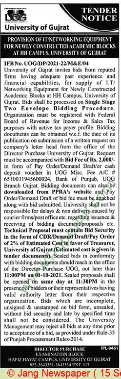 University Of Gujrat Tender Notice