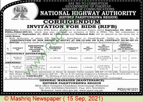 National Highway Authority Peshawar Tender Notice