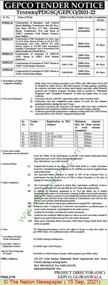 Gujranwala Electric Power Company Limited Gujranwala Tender Notice